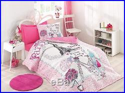 Single/Twin Size Paris Bedding Eiffel Tower Quilted Bedspread/Duvet Cover Set