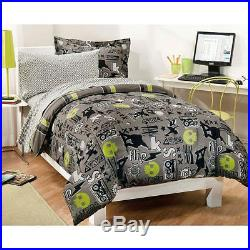Skateboard Skull Boys Extreme Sports Twin Comforter Set (5 Piece Bed In A Bag)
