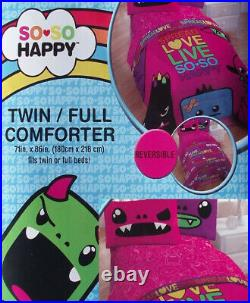 So So Happy Pink Twin Size Comforter Sheets 4pc Bedding Set New