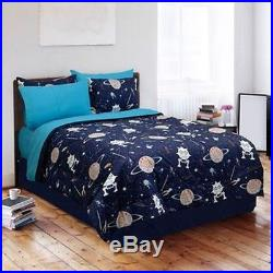 Space Planets Rocket Saturn Blue Teal Grey Boy Soft Comforter Set Twin Or Full