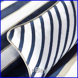 Sporty Blue Navy Tan Beige Khaki White Stripe Boys Soft Comforter Set & Pillow