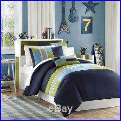 Sporty Cozy Red Grey Black White Orange Green Stripe Boys Comforter Set & Pillow