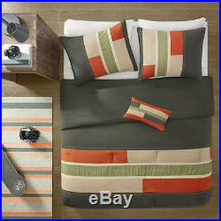 Sporty Orange Grey Green Boys Block Stripe Comforter Set Full Queen Twin XL Szs
