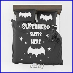 Superhero Sleeps here Comforter or Duvet Cover boys bedding kids bedding