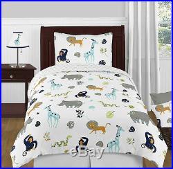 Sweet Jojo Blue Grey Jungle Safari Twin Size Girl Boy Teen Bedding Comforter Set