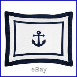 Sweet Jojo Designs Blue White Nautical Sail Boat Themed Kid Twin Boy Bedding Set