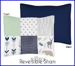Sweet Jojo Designs Modern Blue White Gray Woodland Children Boy Twin Bedding Set