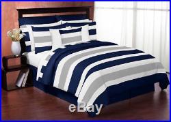 Sweet Jojo Designs Modern Navy Grey Kids Twin Bedding Set for Teen Boys Bedroom