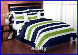 Sweet Jojo Designs Modern Navy Lime Kids Twin Bedding Set for Teen Boys Bedroom