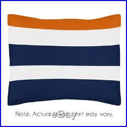 Sweet Jojo Designs Modern Navy Orange Kids Twin Bedding Set for Teen Boy Bedroom