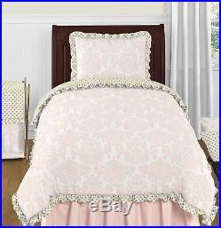 Sweet Jojo Designs Pink White Damask Gold Polka Dots Girl Teen Twin Bedding Set