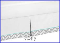 Sweet Jojo Designs Turquoise Gray Twin Chevron Bedding Set for Girl Boy Bedroom