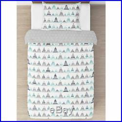 Sweet Jojo Grey Navy Blue Aqua Aztec Mountain Teen Girl or Boy Twin Bedding Set