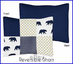 Sweet Jojo Modern Blue Gold White Forest Bear Boy Twin Kid Bedding Comforter Set