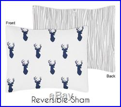 Sweet Jojo Navy Blue Gray Deer Forest Boys Kids Twin Bedding Set Room Collection