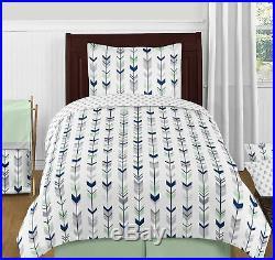 Sweet Jojo Navy Gray Green Woodland Arrow Childrens Girl Boy Twin Bedding Set