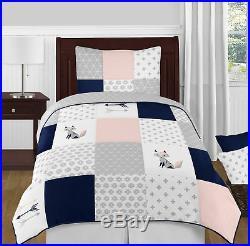 Sweet Jojo Navy Grey & Pink Fox Arrow Twin Girls Children Bedding Comforter Set