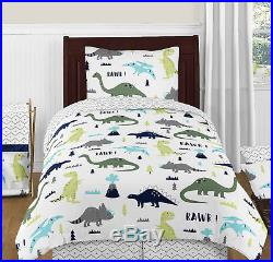 Sweet Jojo Navy Grey White Lime Green Dinosaurs Girls Boys Twin Bedding Set