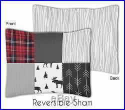 Sweet Jojo Woodland Moose Grey Black Rustic Patch Boy Twin Childrens Bedding Set