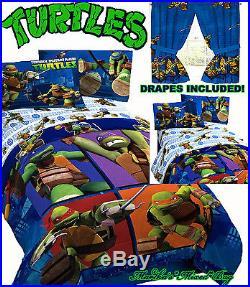 TEENAGE MUTANT NINJA TURTLES Boys TWIN/FULL Size Blue COMFORTER+SHEETS+DRAPES