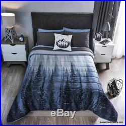 TREE NATURE Comforter Reversible Bedding Gray Black Bedroom Boy 3 PCS TWIN SIZE