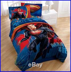 TWIN Superman Man of Steel CAPE, DRAPES, SHEETS & REVERSIBLE COMFORTER SET