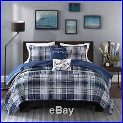 Teen Boys Classic Plaid Preppy Blue Gray White Quilt Coverlet Set + Pillows New