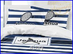 Tennis Comforter, Boys Striped Bedding, Tennis Gift, Personalized with Name
