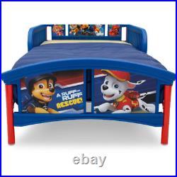 Toddler Bed Plastic Children Steel Frame Blue Guardrails For Mattress Bedding
