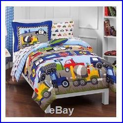 Toddler Boy Comforter Set 5 Piece Twin Kids Bedroom Tractors Cars Bedding Sheets