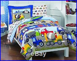 Tractors Trucks Cars Boys 5 Piece Comforter Set Blue Red Twin Bed Kids Bedroom