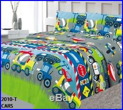 Truck Cars Machines Kids Boys Comforter Set Sheet Set And Curtains 8pc Twin Size