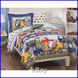 Truck Police Car Blue Grey Red Plane Comforter Construction Boys Quilt Set Twin