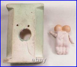 Twin Boy Dolls on Bed Dollhouse All Bisque Jointed Germany Miniature Antique