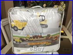 Twin Comforter Set TRUCKS TRAINS TRACTORS Reversible Yellow Gray CONSTRUCTION