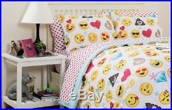 Twin Emoji Pals Reversible Bed in a Bag Comforter Set Kids Bedding Boy Girl