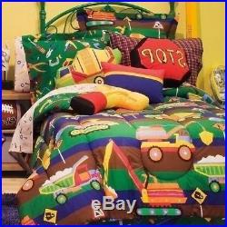 Twin Full Bed Bag Boys Construction Trucks Reversible 8 pc Comforter Sheet Set