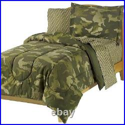 Twin Full Bed Bag Green Camo Camouflage Reversible 7 pc Comforter Sheet Set