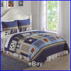 Twin Full Queen Bed Navy Blue Khaki Sports Patchwork 3 pc Quilt Set Coverlet