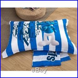 Twin & Queen Size Smurf Duvet Cover Bedding Set Blue Boys Girls