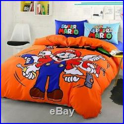Twin & Queen Size Super Mario Brothers Duvet Cover Bedding Set Orange Boys