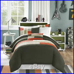 Twin XL Full Queen King Bed Olive Green Orange Stripe 4 pc Comforter Set Bedding