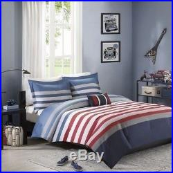 Twin XL Full Queen Size Bed Blue Red White Gray Stripe Sporty 4 pc Comforter Set