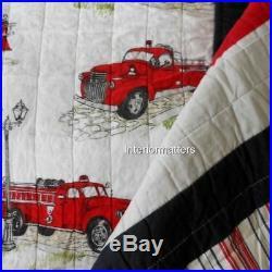 Twin kids bedding quilt set fire truck pillow sham red blue firetruck plaid 3 pc