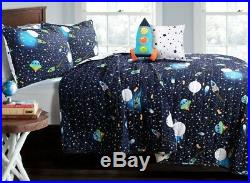 UNIVERSE NAVY QUILT SET Twin or Queen Reversible Stars Planets Space Rocket UFO