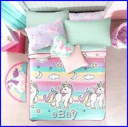 Unicorn Kids Girls Reversible Bedspread 1 Pcs Twin Size