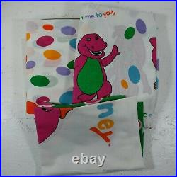 Vintage 1992 Barney The Dinosaur Twin Sheet Set BIBB USA Flat Fitted Pillowcase