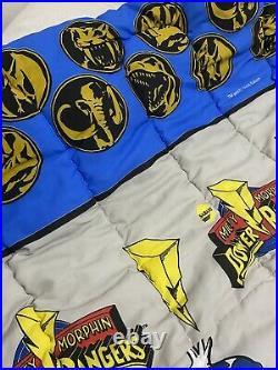 Vintage 1994 Mighty Morphin Power Rangers Twin Size Comforter Blanket 60 x 88