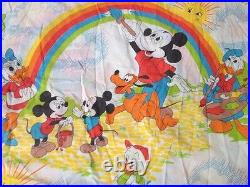 Vintage 70s Disney Mickey Mouse Donald Duck Rainbow Sun Flat Fitted Sheet Set