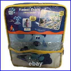 Vintage Blue's Clues 3 Piece Twin Flannel Sheet Set With Bonus Backpack New